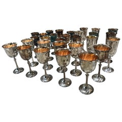 Midcentury Glassware Set for 10 Silver-Plated Glasses, Italy, 1950s