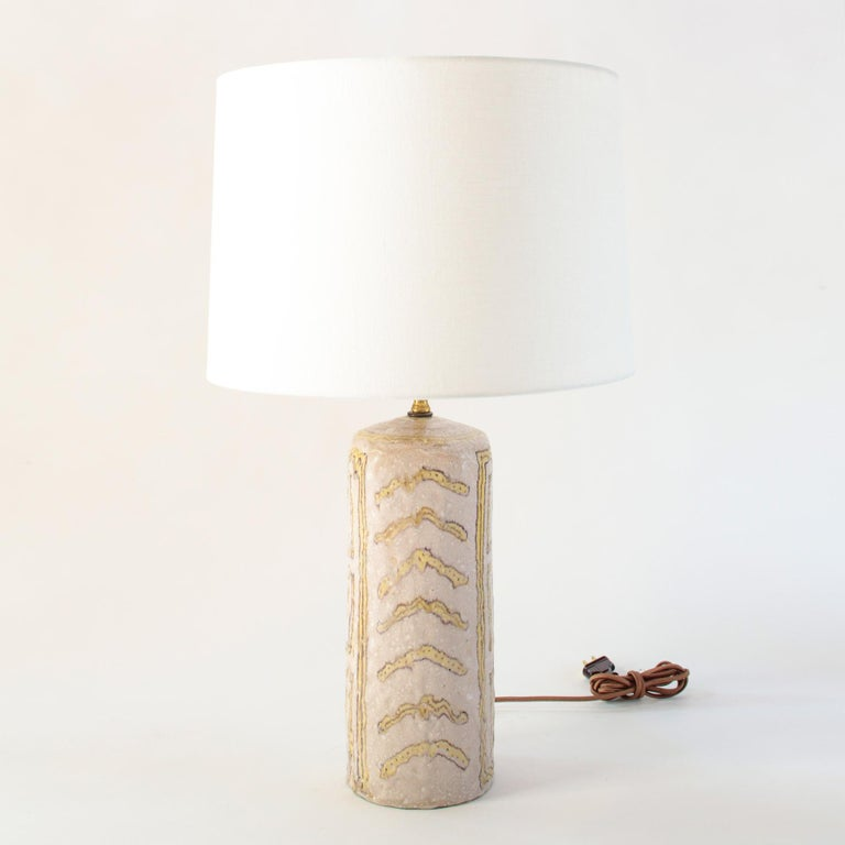 Italian Midcentury Glazed Ceramic Table Lamp Portrait Design By Guido Gambone, Signed For Sale