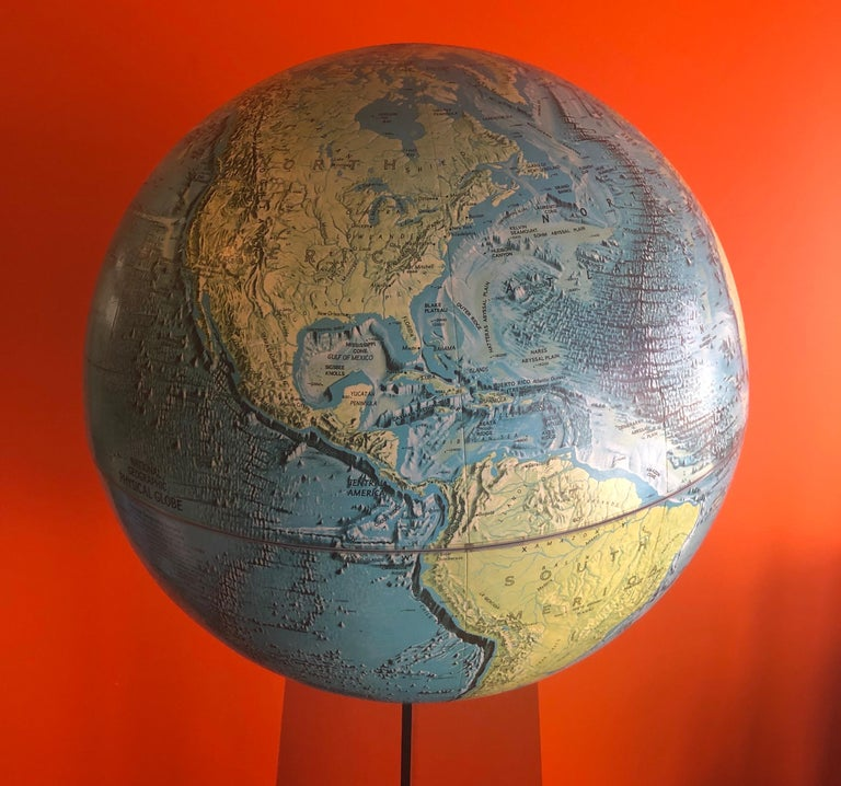 Midcentury Globe on Smoked Lucite Stand For Sale 4