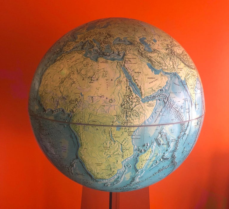 Midcentury Globe on Smoked Lucite Stand For Sale 5