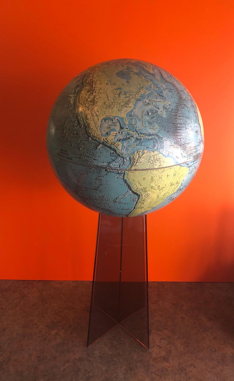 Mid-Century Modern Midcentury Globe on Smoked Lucite Stand For Sale