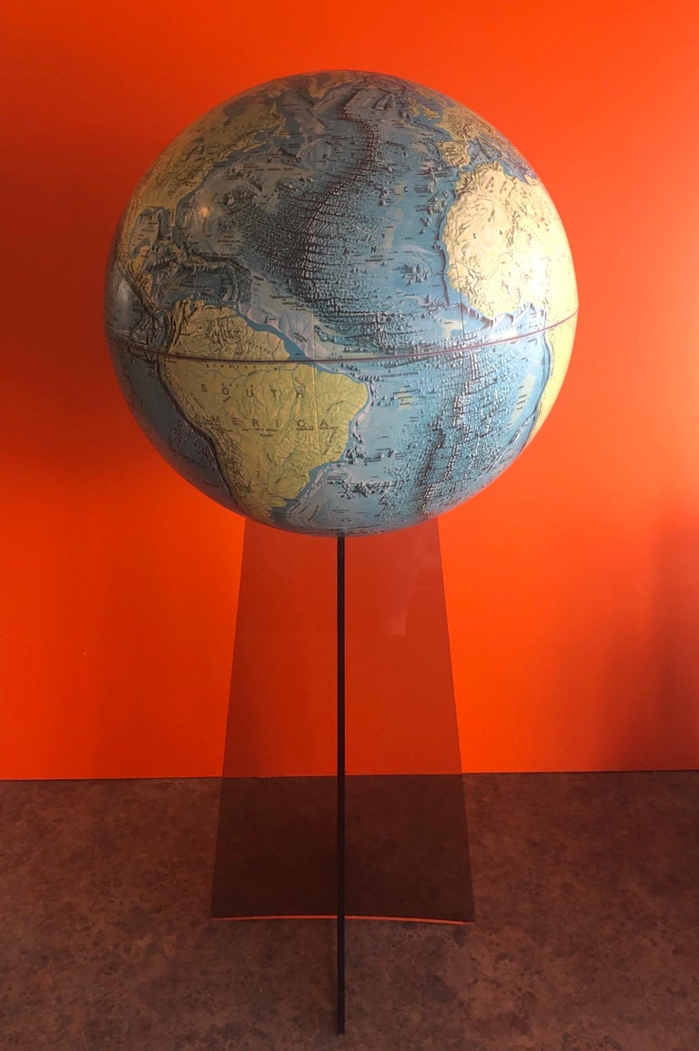 American Midcentury Globe on Smoked Lucite Stand For Sale