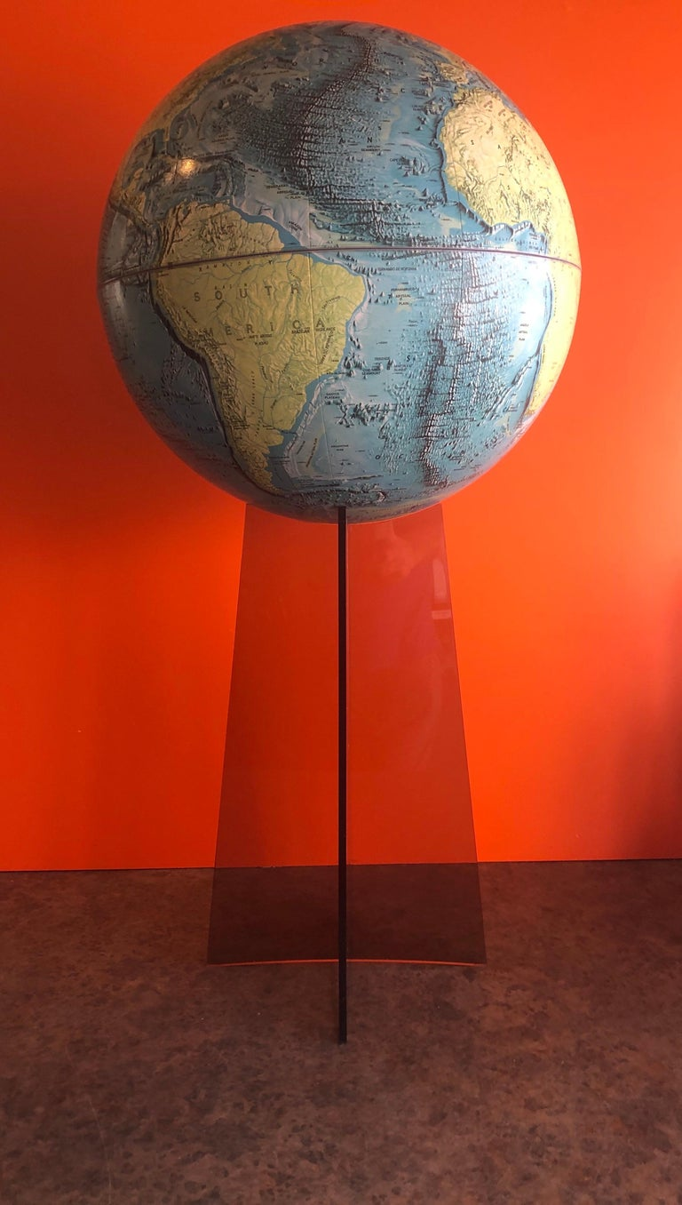 20th Century Midcentury Globe on Smoked Lucite Stand For Sale