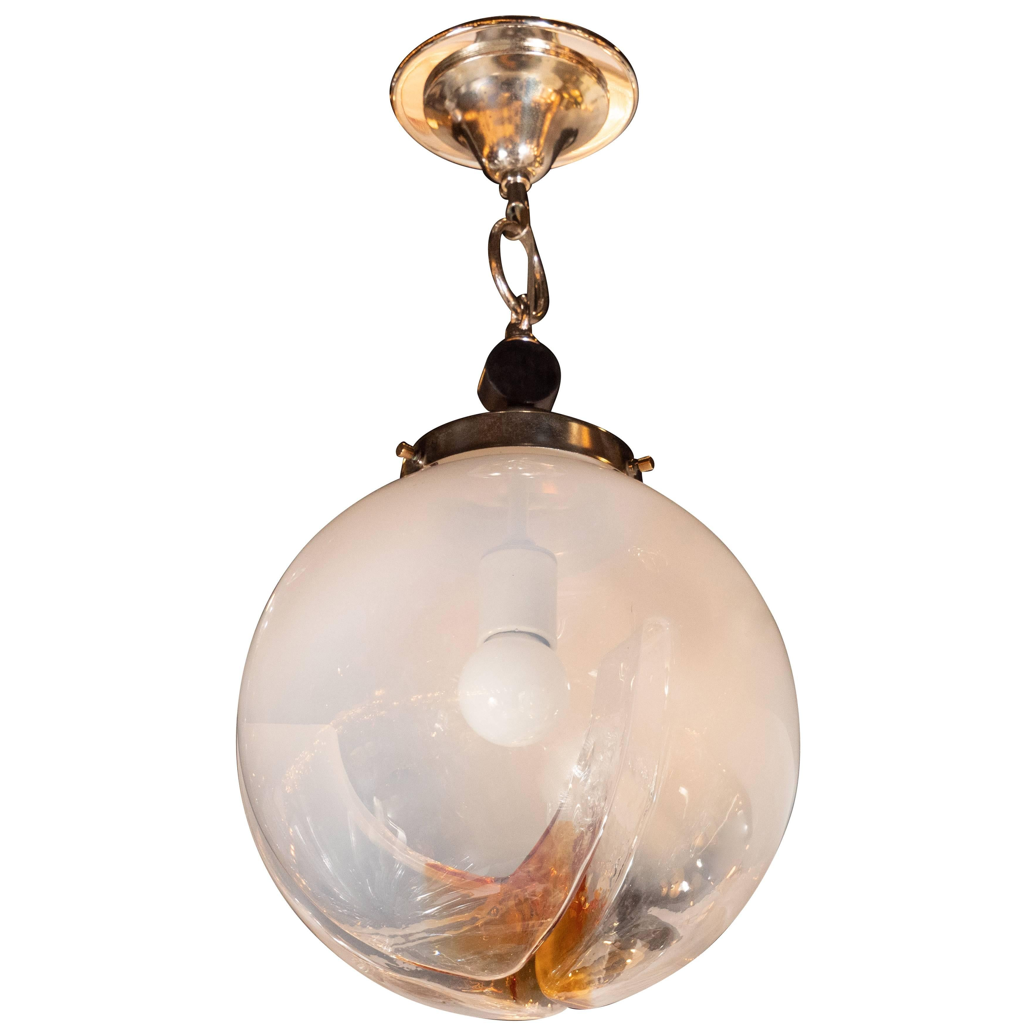 Midcentury Globe Pendant in Semi-Opaque Glass with Amber Accents by Mazzega