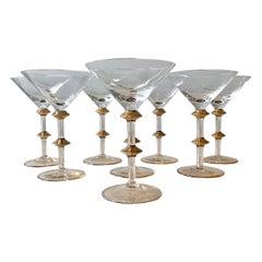 Mid Century Gold Accent Martini Glasses