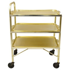 Midcentury Gold Aluminum Metal Folding Rolling Bar Cart Server with 3 Trays