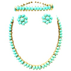 Mid-Century Gold Faux Turquoise Necklace Earrings & Bracelet S/4 By, Trifari