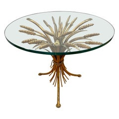 Midcentury Gold Gilt Wheat Sheath Table with Glass Top