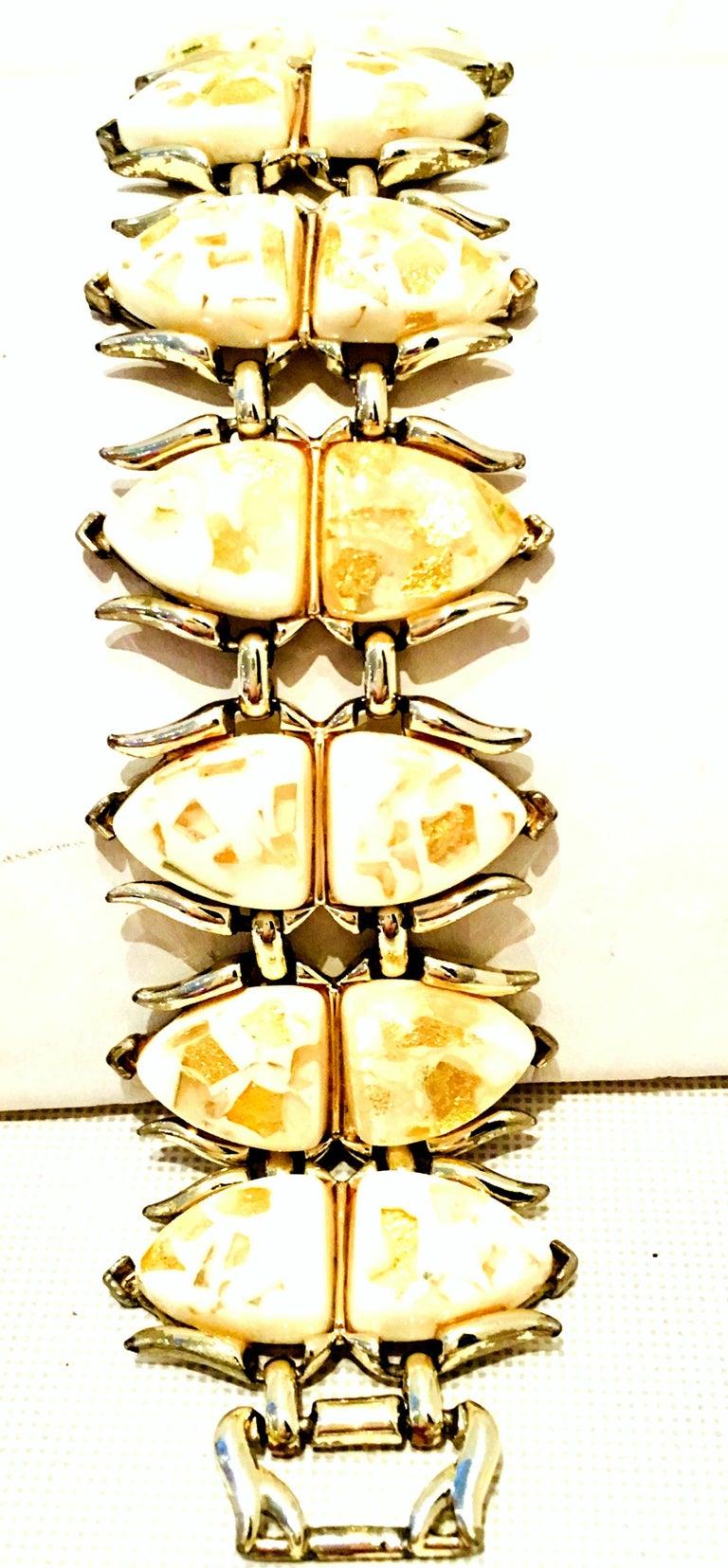Women's or Men's Mid-Century Gold, Lucite Confetti