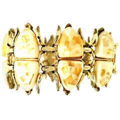 "Mid-Century Gold, Lucite Confetti ""Scarab"" Link Bracelet By, Coro"