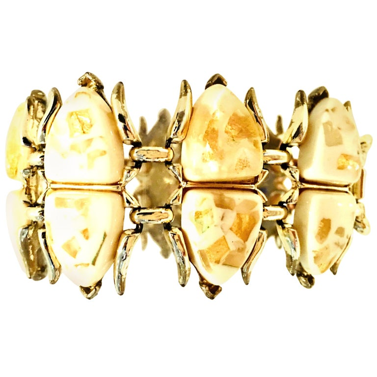 """Mid-Century Gold, Lucite Confetti """"Scarab"""" Link Bracelet By, Coro For Sale"""