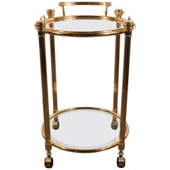 Midcentury Gold-Plated Two-Tier Bar Cart with Removable Tray & Castors