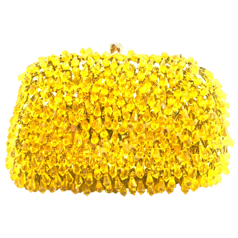 Mid-Century Gold Sequin & Hanging Bead Evening Bag By Walborg-Hong Kong