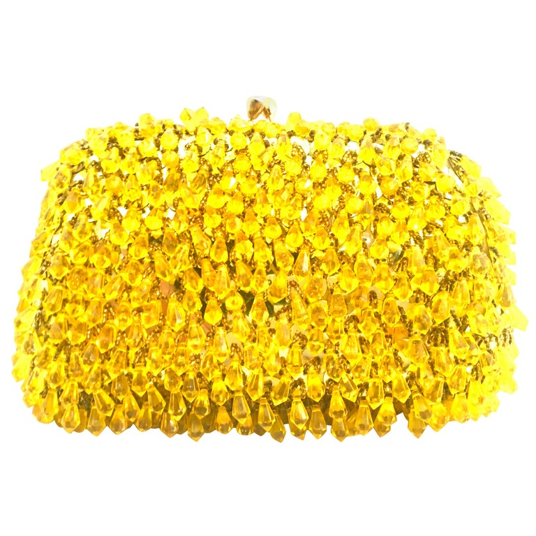 Mid-Century Gold Sequin & Hanging Bead Evening Bag By Walborg-Hong Kong For Sale