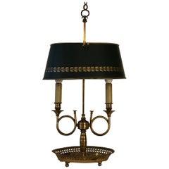 Mid Century Golden Bronze and Metal Dark Green Lamp-Shade Bouillotte Lamp
