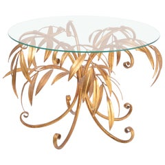 Mid-Century Modern golden palm tree side table by Hans Kögl