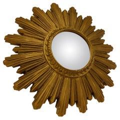 Mid Century Golden Sunburst Mirror, 1960s