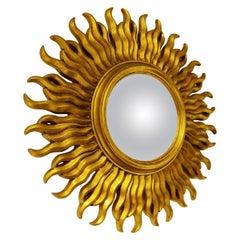 Mid Century Golden Sunburst Mirror