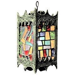 Midcentury Gothic Revival Swag or Hanging Light with Stained Glass Panels