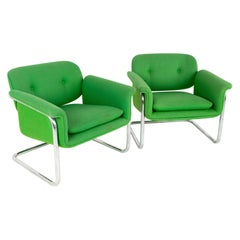 Mid Century Green and Chrome Cantilever Lounge Chairs, a Pair