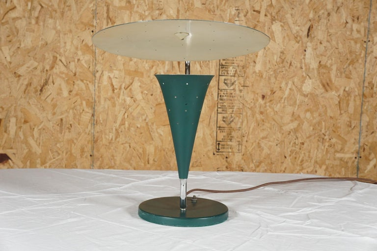 Modern Midcentury Green and Chrome Lamp For Sale