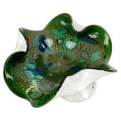 Mid Century Green and Cyan Flecked Avventurina Murrina Murano Glass Ruffled Bowl