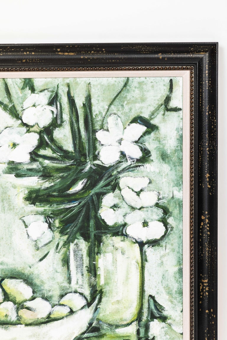 Mid-Century Modern Midcentury 'Green and White' Still Life of Fruit and Flowers For Sale