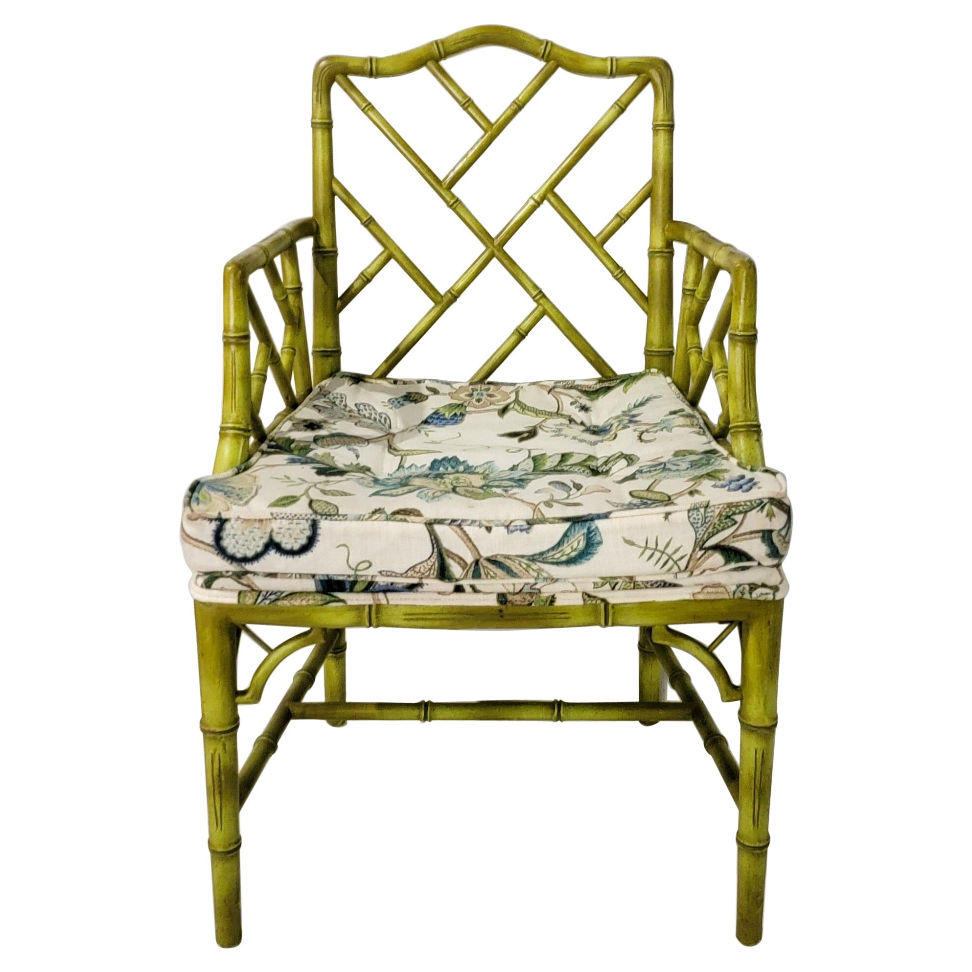 Mid-Century Green Chinese Chippendale Style Faux Bamboo Arm Chair