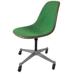 Midcentury Green, Eames Fibreglass PSC Swivel Chair for Herman Miller circa 1960