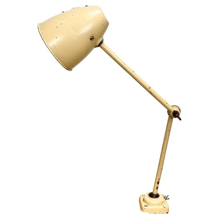 Midcentury Beige Industrial Table Lamp, 1960s For Sale