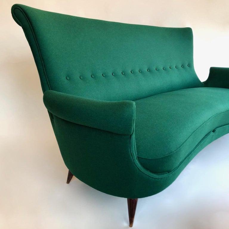 20th Century Midcentury Green Italian Sofa, 1950s For Sale