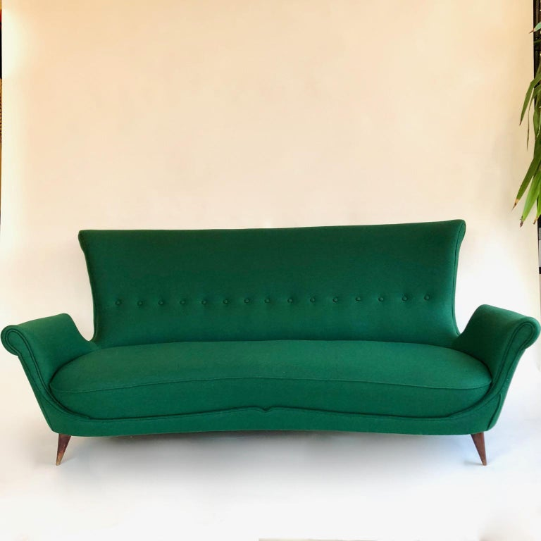 Fabric Midcentury Green Italian Sofa, 1950s For Sale