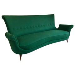 Midcentury Green Italian Sofa, 1950s