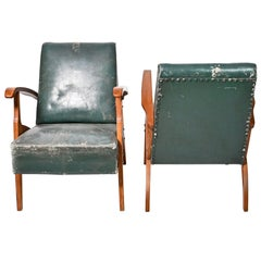 Midcentury Green Leather Armchairs, Hungary, 1950s
