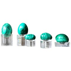 Midcentury Green Malachite Burnished Egg Set of Five, Stone Sculpture Set