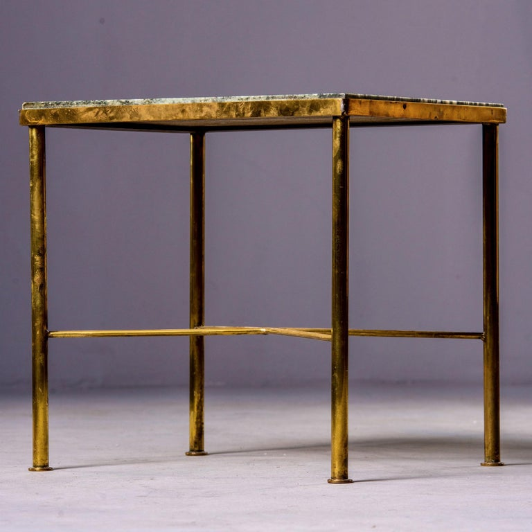 Mid-Century Modern Midcentury Green Marble and Brass Side Table For Sale