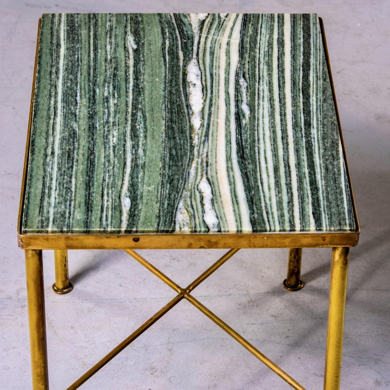 European Midcentury Green Marble and Brass Side Table For Sale