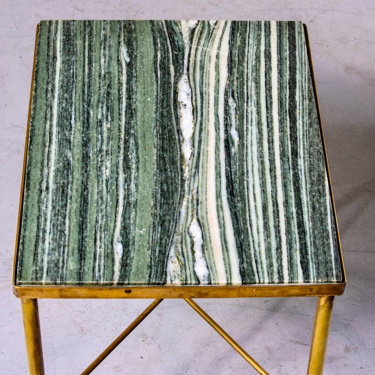 Midcentury Green Marble and Brass Side Table In Good Condition For Sale In Troy, MI
