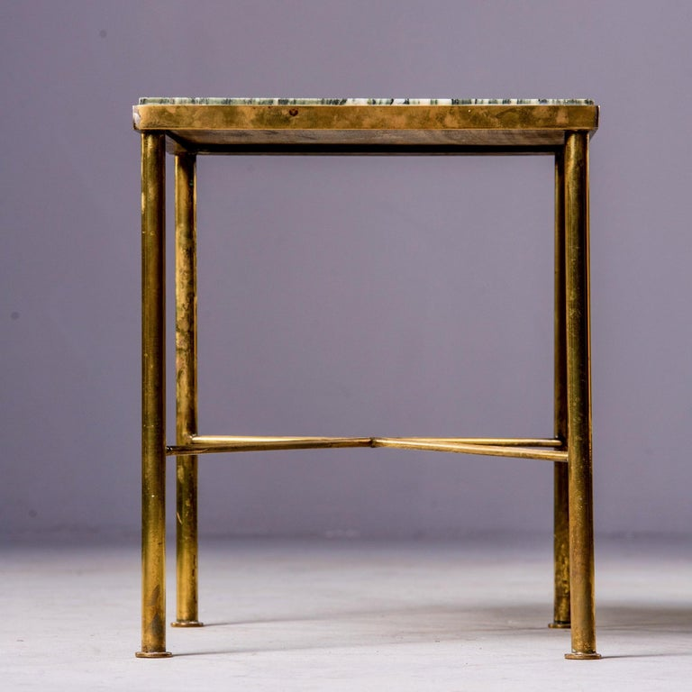 20th Century Midcentury Green Marble and Brass Side Table For Sale