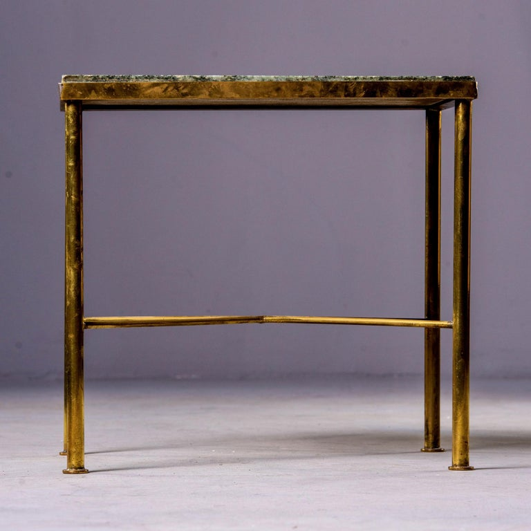 Midcentury Green Marble and Brass Side Table For Sale 2