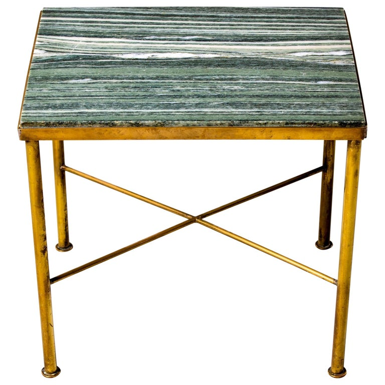 Midcentury Green Marble and Brass Side Table For Sale