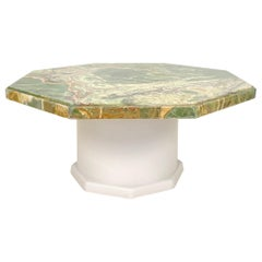 Mid-Century Green Octagon Onyx Coffee Table with Round Off-White Wood Base, 1970