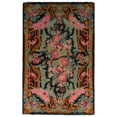 Midcentury Green Pink Floral Flat-Weave Vintage Bessarabian Kilim Rug