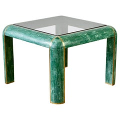 Mid-Century Green Tessellated Stone and Brass Side Table by Casa Bique, c. 1970s