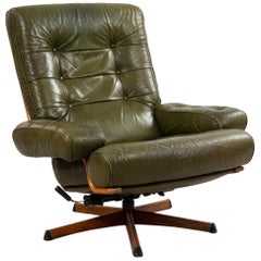 Midcentury Green Tufted Leather Armchair