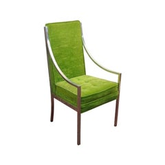 Mid-Century Green Velvet and  Chrome Accent Chair