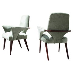 Mid-Century Green Velvet Mahogany Chairs Melchiorre Bega Design 1950s Minimal