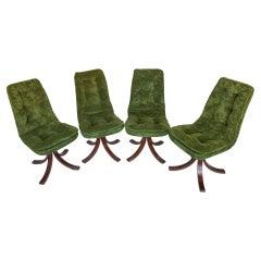 Mid Century Green Velvet Swivel Chairs, Italy, 1970s