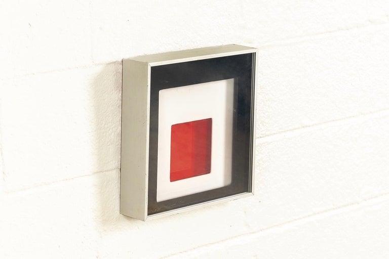 Mid-Century Modern Midcentury Greg Copeland Red & Black Abstract Wall Art Op Art Light Box, 1970s For Sale