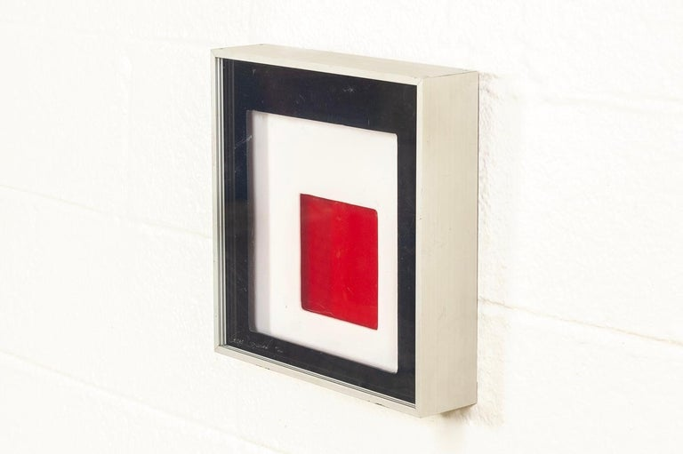 American Midcentury Greg Copeland Red & Black Abstract Wall Art Op Art Light Box, 1970s For Sale